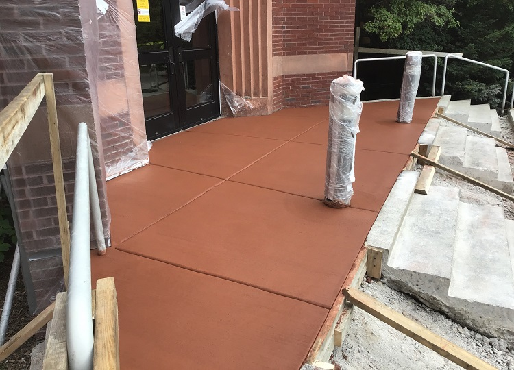 Colored Concrete Building Entrance Construction