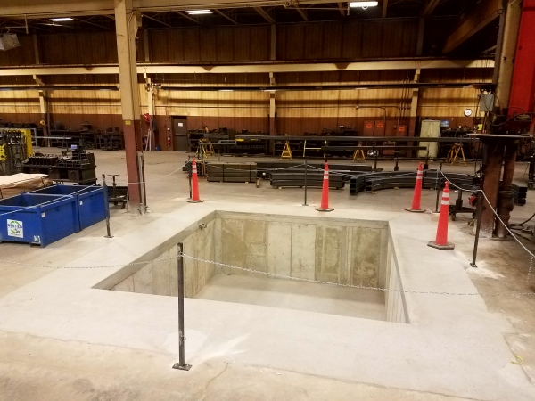Machine base foundation installation for a facility in Milwaukee