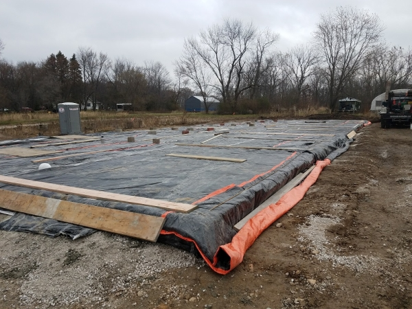 Storage Building Slab with Proper Winter Weather Precautions