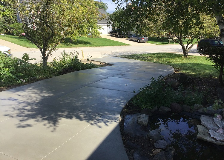 Inclined Concrete Driveway Construction